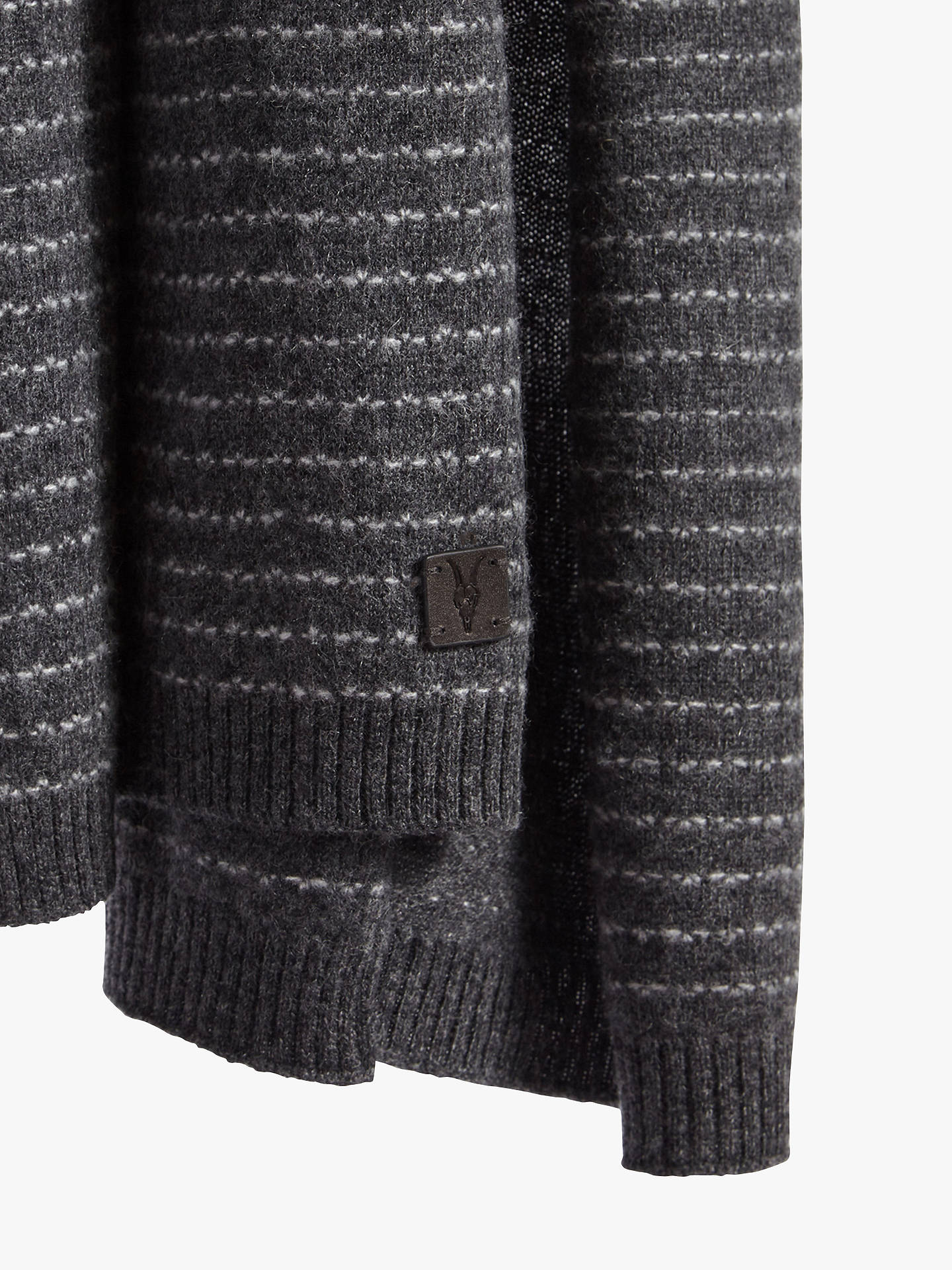 BuyAllSaints Thin Stripe Scarf, Cinder Black/Grey, One size Online at johnlewis.com