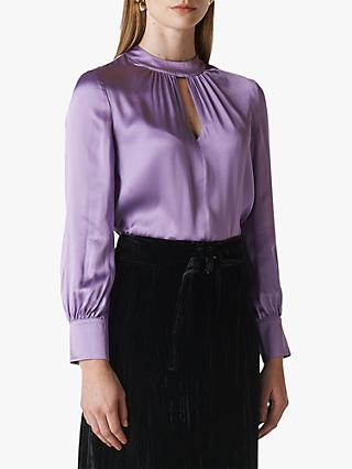 Whistles Cora Silk Satin Blouse, Lilac