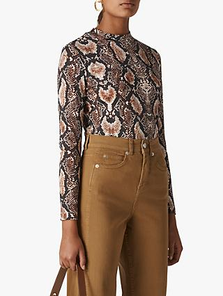 Whistles Snake Print Essential Top, Neutral