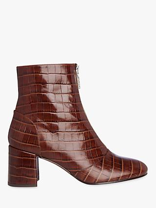 93f8c5d0f64aa Whistles Rowan Croc Zip Front Ankle Boots