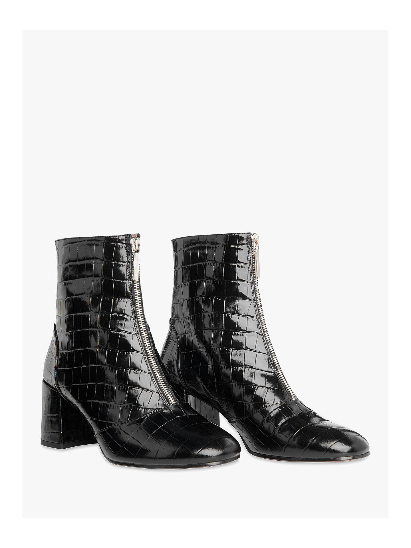 089716f23b3 ... Buy Whistles Rowan Croc Zip Front Ankle Boots, Black Leather, 3 Online  at johnlewis ...