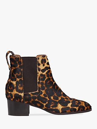 Whistles Daisley Leather Block Heel Ankle Boots, Leopard
