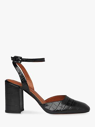 Whistles Crescent High Block Heel Sandals, Black