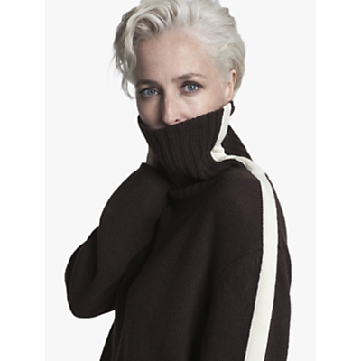 Gillian Anderson Cashmere Roll Neck Jumper, Chocolate/Ivory