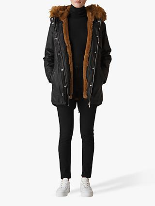 Whistles Wax Faux Fur Lined Parka, Black