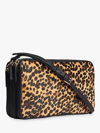Whistles Cornelia Leather Triple Zip Bag Leopard Print