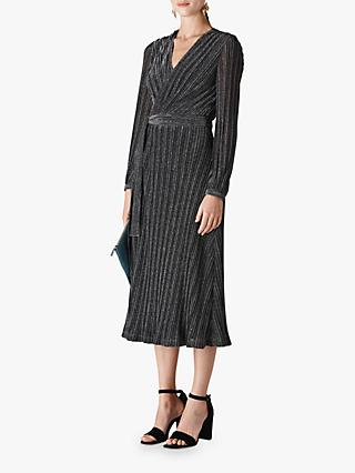 Whistles Maia Sparkle Wrap Dress, Black