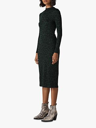 Whistles Animal Jersey Dress, Green/Multi
