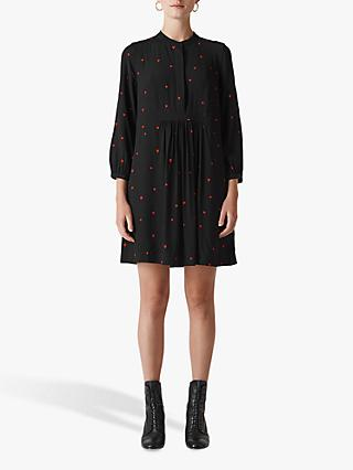 Whistles Mia Heart Print Dress, Black/Multi