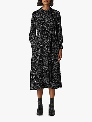 Whistles Stallion Print Shirt Dress, Black/White