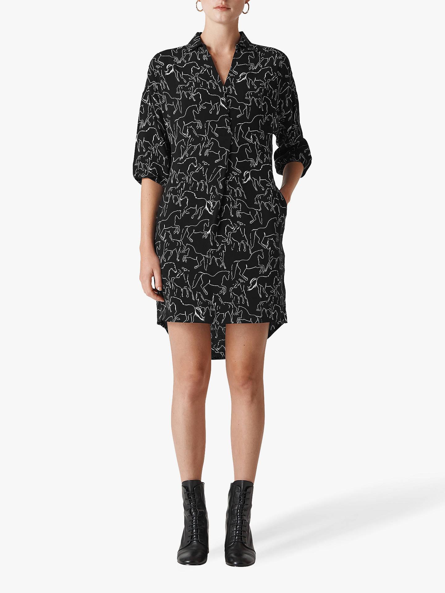 3e144fc49863 Buy Whistles Lola Stallion Print Dress, Black/White, L Online at johnlewis.