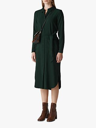 Whistles Montana Long Sleeve Shirt Dress, Dark Green