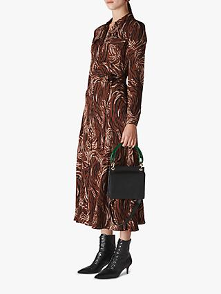 Whistles Elfrida Reed Shirt Dress, Brown/Multi