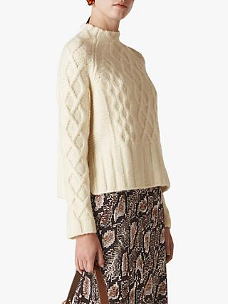 Whistles Modern Cable Sweater, Ivory