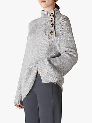 Whistles Button Neck Knit Jumper, Grey Marl