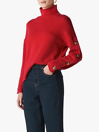 Whistles Button Sleeve Funnel Neck Jumper
