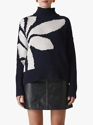 Whistles Palm Intarsia Knit, Navy
