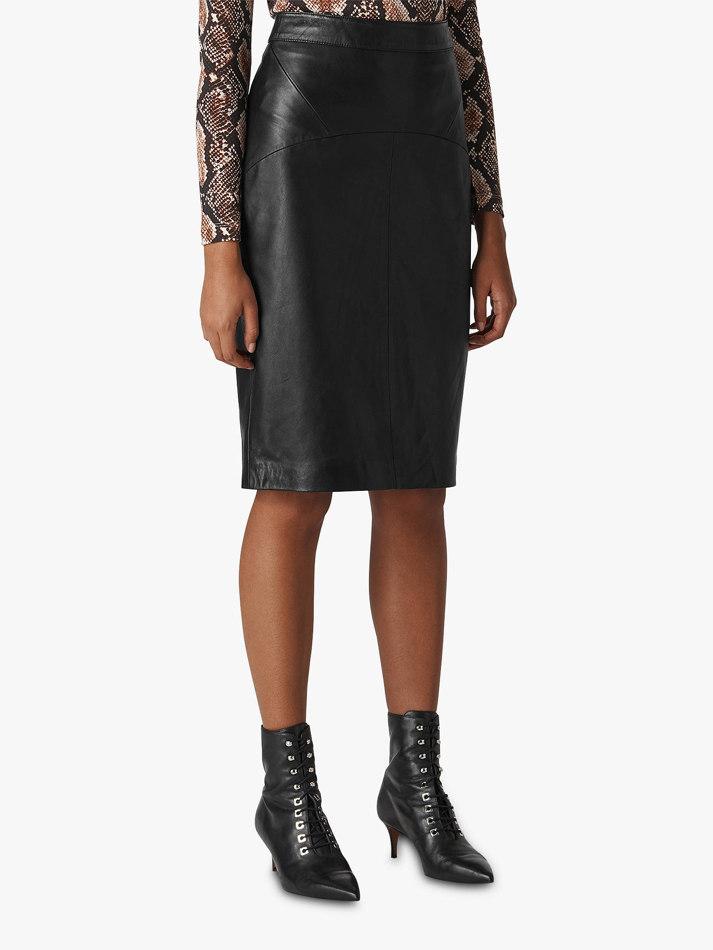 d9741325ff Buy Whistles Kel Leather Pencil Skirt, Black, 6 Online at johnlewis.com ...