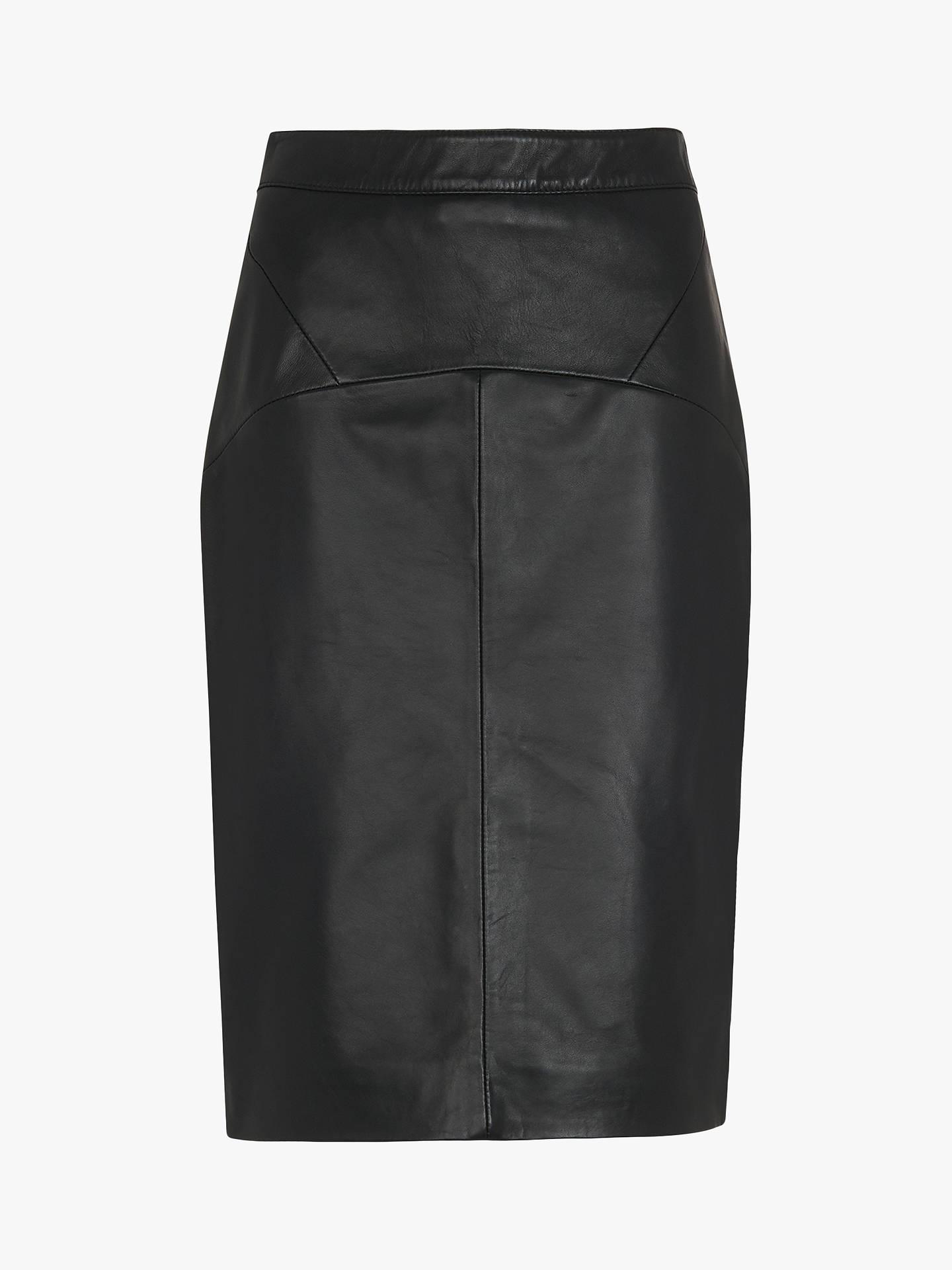 3c68c82b80 ... Buy Whistles Kel Leather Pencil Skirt, Black, 6 Online at johnlewis.com