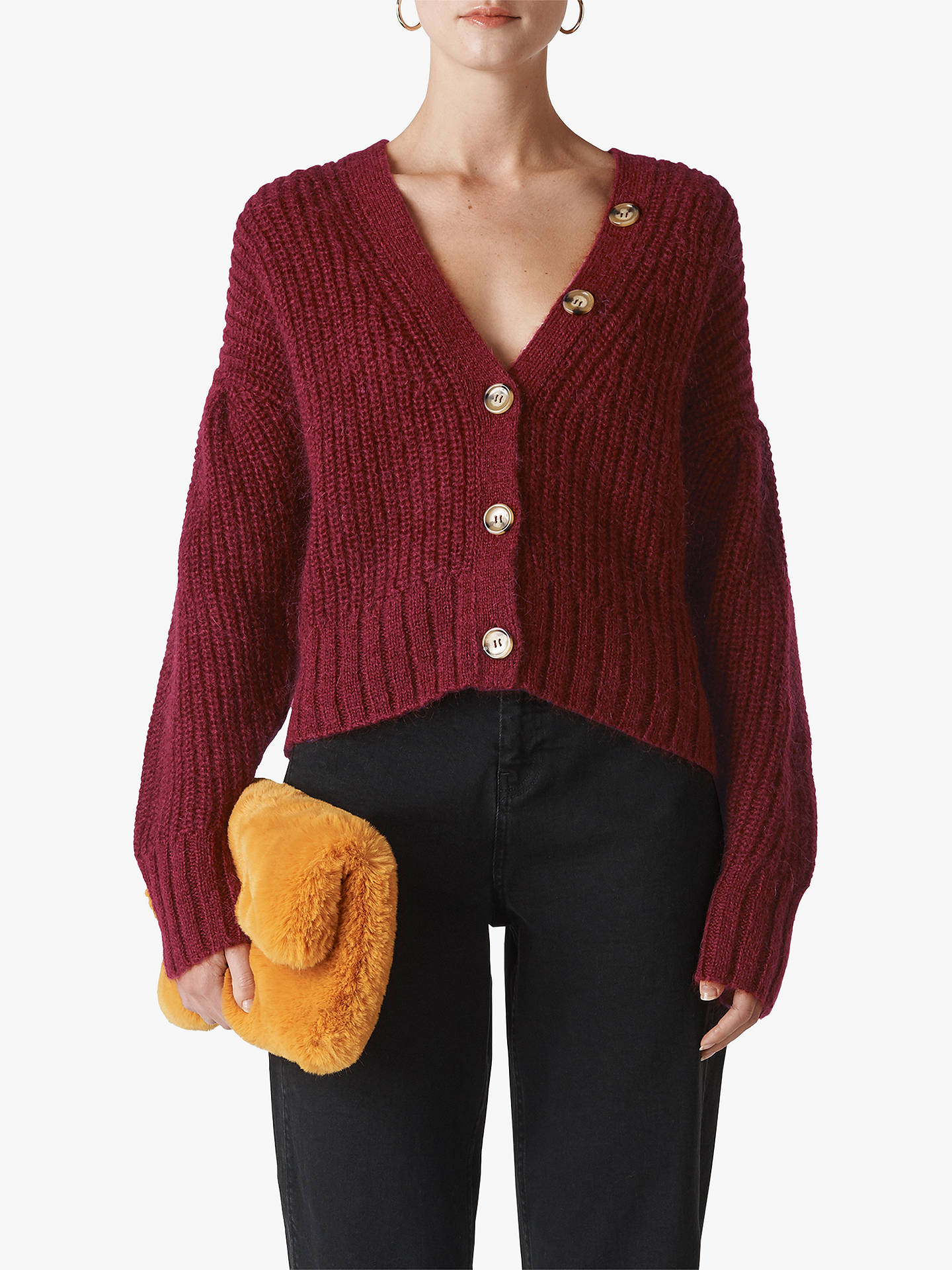 Buy Whistles Mohair Blend Cropped Cardigan, Burgundy, XS Online at johnlewis.com