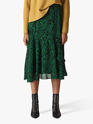 Whistles Jungle Cat Print Skirt, Green/Multi