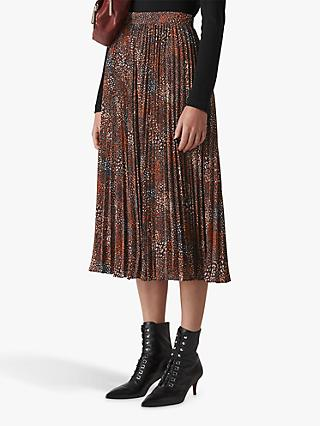 Whistles Abstract Animal Print Pleated Skirt, Brown/Multi