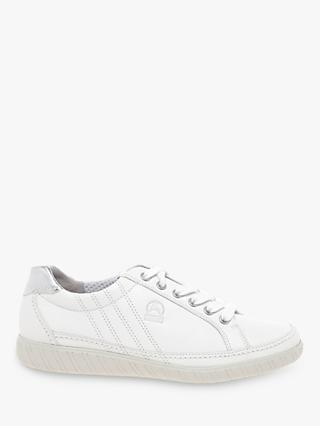 Gabor Amulet Wide Fit Trainers, White Leather
