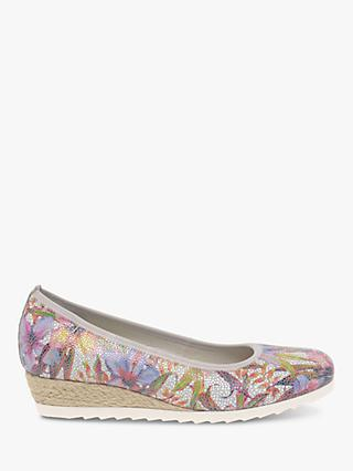 Gabor Epworth Wide Fit Printed Espadrille Wedge Pumps, Multi
