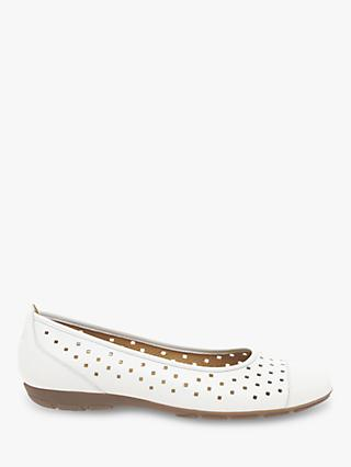 Gabor Ruffle Punched Ballet Pumps, White Leather
