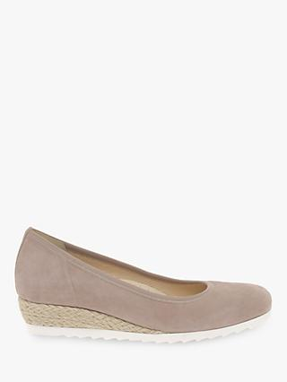 Gabor Epworth Wide Fit Espadrille Wedge Pumps, Blush Suede