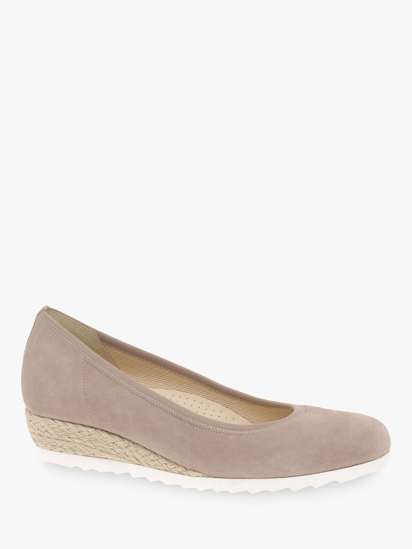c7c5a60735081 ... Buy Gabor Epworth Wide Fit Espadrille Wedge Pumps, Blush Suede, 5  Online at johnlewis