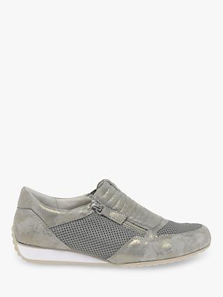 Gabor Brunello Wide Fit Zip Trainers, Taupe Suede