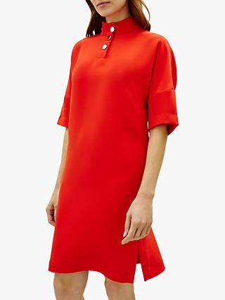 Jaeger Crepe Button Detail Dress, Red
