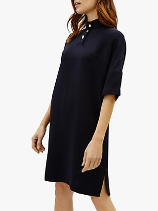 Jaeger Crepe Button Detail Dress, Navy