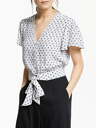 Somerset by Alice Temperley Heart Flower Tie Waist Top, White