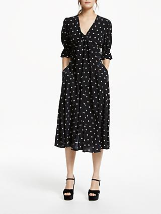 Somerset by Alice Temperley Tie Front Star Print Midi Dress, Black/Ecru