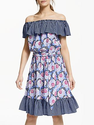 Somerset by Alice Temperley Off Shoulder Floral Stripe Dress, Blue