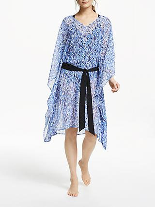 Somerset by Alice Temperley Belted Kaftan Midi Dress, Blue Leopard