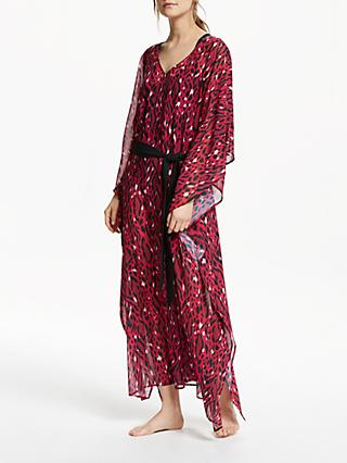 Somerset by Alice Temperley Belted Kaftan Maxi Dress, Bright Pink Leopard