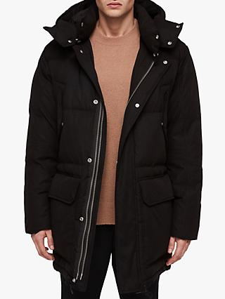 AllSaints Sergio Quilted Parka Jacket, Black