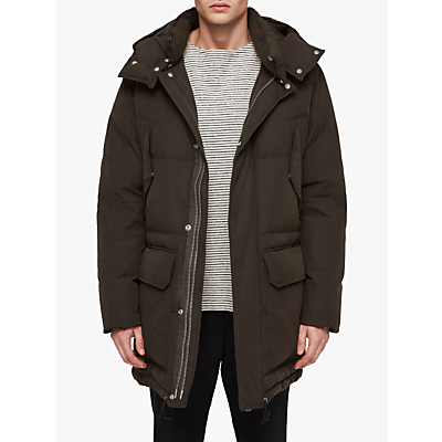 Image of AllSaints Sergio Quilted Parka Jacket, Khaki Green