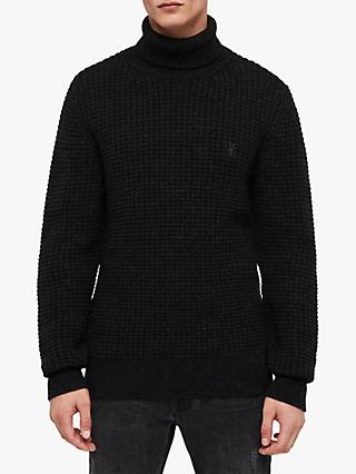 AllSaints Raynes Waffle Chunky Roll Neck Jumper, Cinder Black Marl