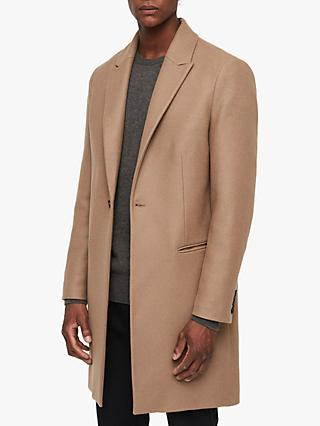 AllSaints Tulsen Tailored Overcoat, Camel Brown