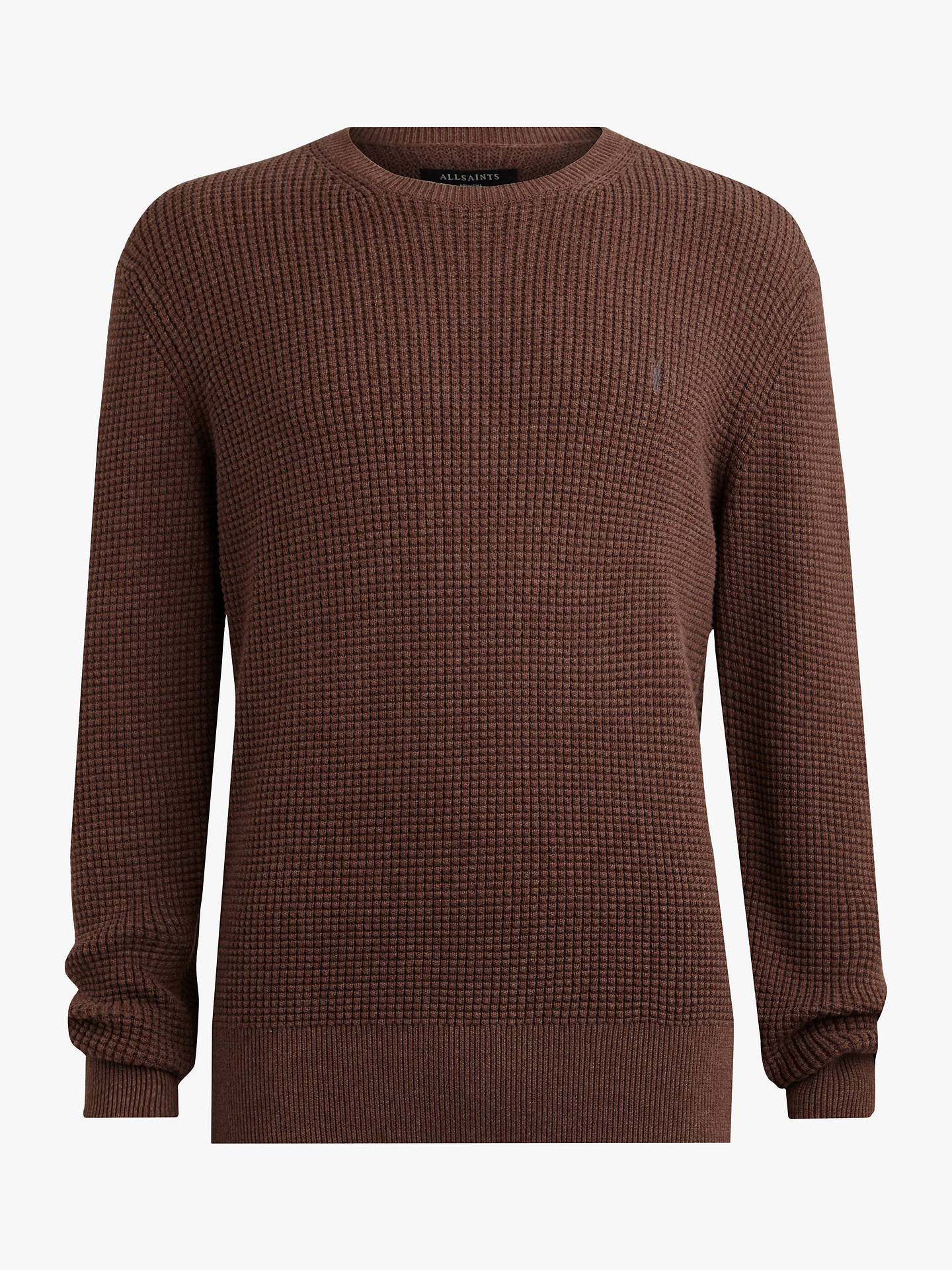 975bb04004d AllSaints Wells Textured Crew Jumper, Sulphur Brown Marl at John ...