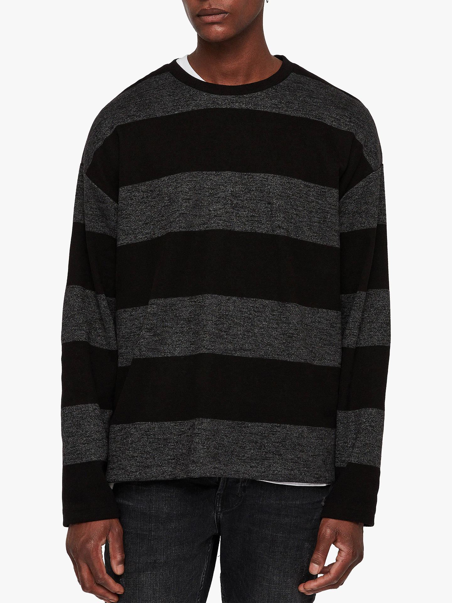 9d504b1d341f33 Buy AllSaints Bendela Oversized Dropped Shoulder Stripe Long Sleeve T-Shirt,  Black/Grey ...