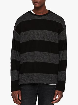 AllSaints Bendela Oversized Dropped Shoulder Stripe Long Sleeve T-Shirt, Black/Grey
