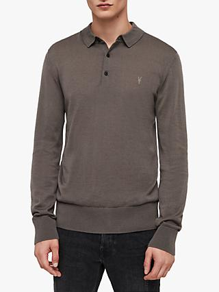 AllSaints Mode Merino Slim Knitted Polo Shirt, Core Grey