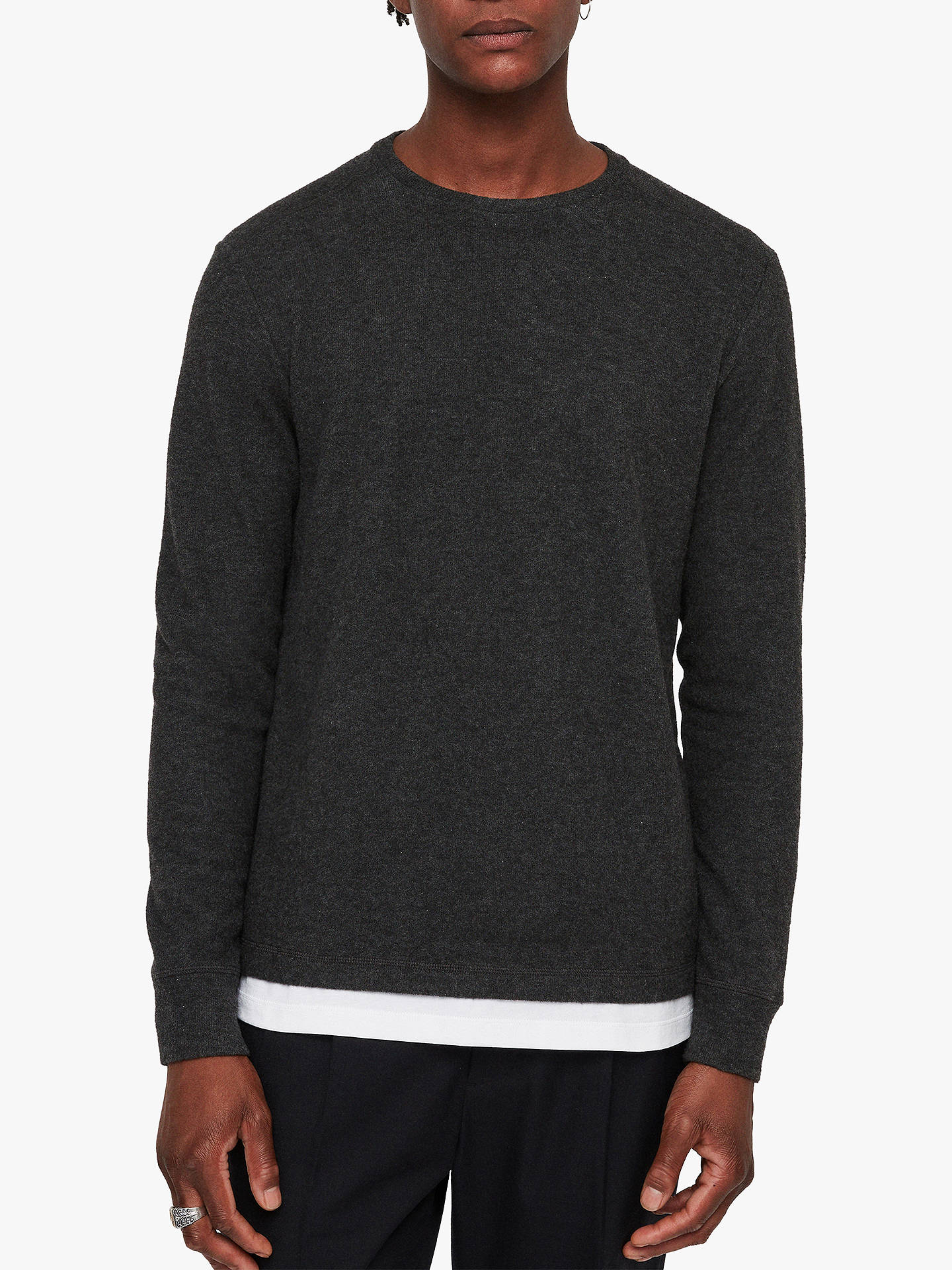 BuyAllSaints Luge Layered T-Shirt, Charcoal Marl, XS Online at johnlewis.com