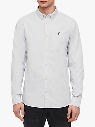 AllSaints Easton Pinstripe Shirt, White/Grey