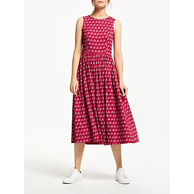 People Tree V&A Esher Print Cotton Midi Dress, Red